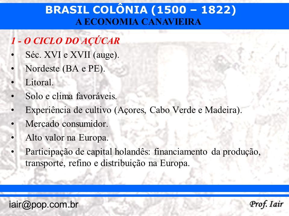 BRASIL COLÔNIA (1500 – 1822) Prof. Iair iair@pop.com.br A ECONOMIA CANAVIEIRA 1 - O CICLO DO AÇÚCAR Séc. XVI e XVII (auge). Nordeste (BA e PE). Litora