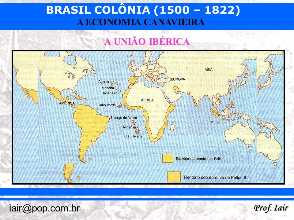 BRASIL COLÔNIA (1500 – 1822) Prof. Iair iair@pop.com.br A ECONOMIA CANAVIEIRA A UNIÃO IBÉRICA