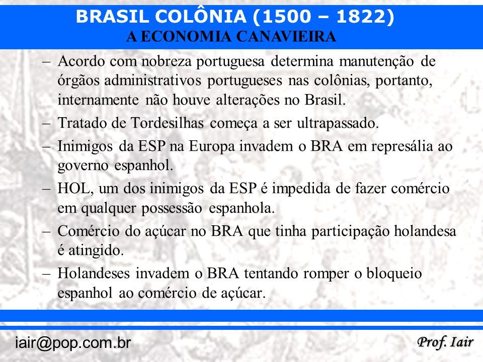 BRASIL COLÔNIA (1500 – 1822) Prof. Iair iair@pop.com.br A ECONOMIA CANAVIEIRA –Acordo com nobreza portuguesa determina manutenção de órgãos administra