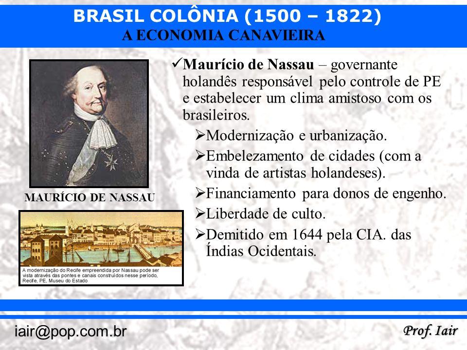 BRASIL COLÔNIA (1500 – 1822) Prof. Iair iair@pop.com.br A ECONOMIA CANAVIEIRA Maurício de Nassau – governante holandês responsável pelo controle de PE