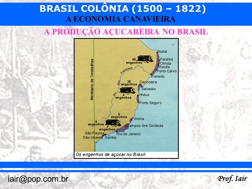 BRASIL COLÔNIA (1500 – 1822) Prof. Iair iair@pop.com.br A ECONOMIA CANAVIEIRA A PRODUÇÃO AÇUCAREIRA NO BRASIL