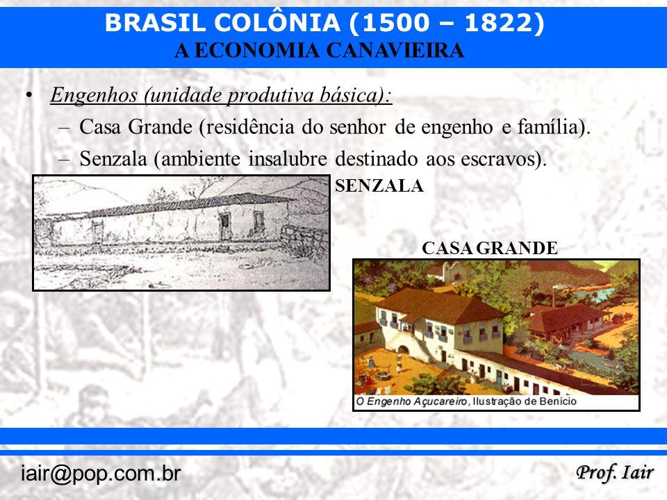 BRASIL COLÔNIA (1500 – 1822) Prof. Iair iair@pop.com.br A ECONOMIA CANAVIEIRA Engenhos (unidade produtiva básica): –Casa Grande (residência do senhor