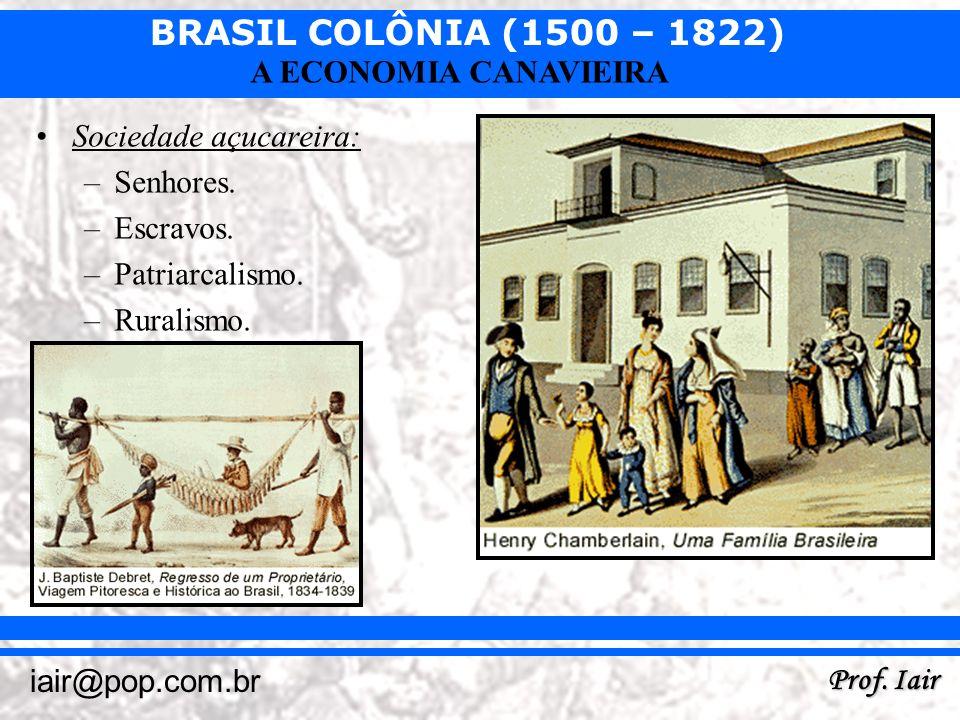 BRASIL COLÔNIA (1500 – 1822) Prof. Iair iair@pop.com.br A ECONOMIA CANAVIEIRA Sociedade açucareira: –Senhores. –Escravos. –Patriarcalismo. –Ruralismo.