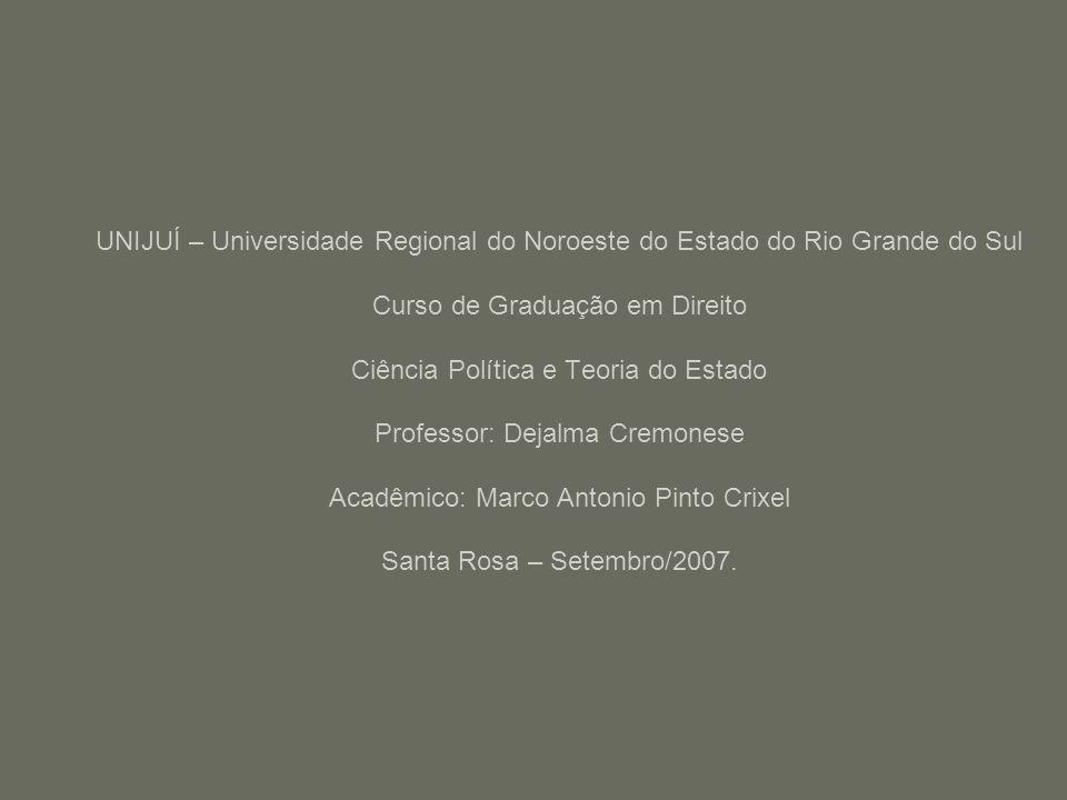 UNIJUÍ – Universidade Regional do Noroeste do Estado do Rio Grande do Sul Curso de Graduação em Direito Ciência Política e Teoria do Estado Professor: