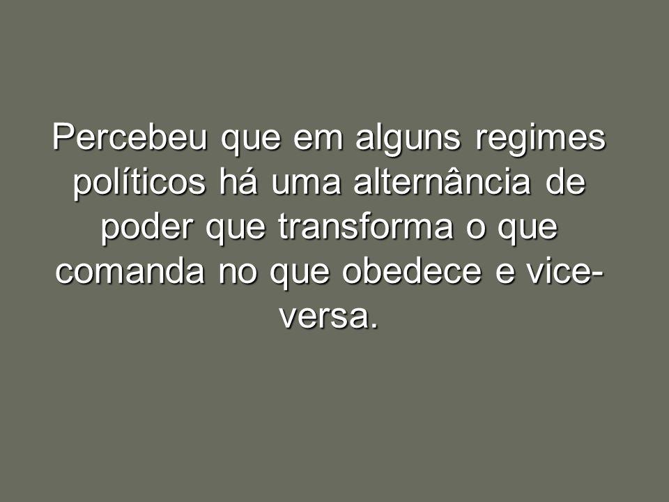 Percebeu que em alguns regimes políticos há uma alternância de poder que transforma o que comanda no que obedece e vice- versa.