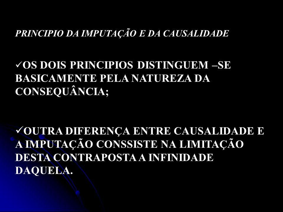 PRINCIPIO DA IMPUTAÇÃO E DA CAUSALIDADE OS DOIS PRINCIPIOS DISTINGUEM –SE BASICAMENTE PELA NATUREZA DA CONSEQUÂNCIA; OUTRA DIFERENÇA ENTRE CAUSALIDADE