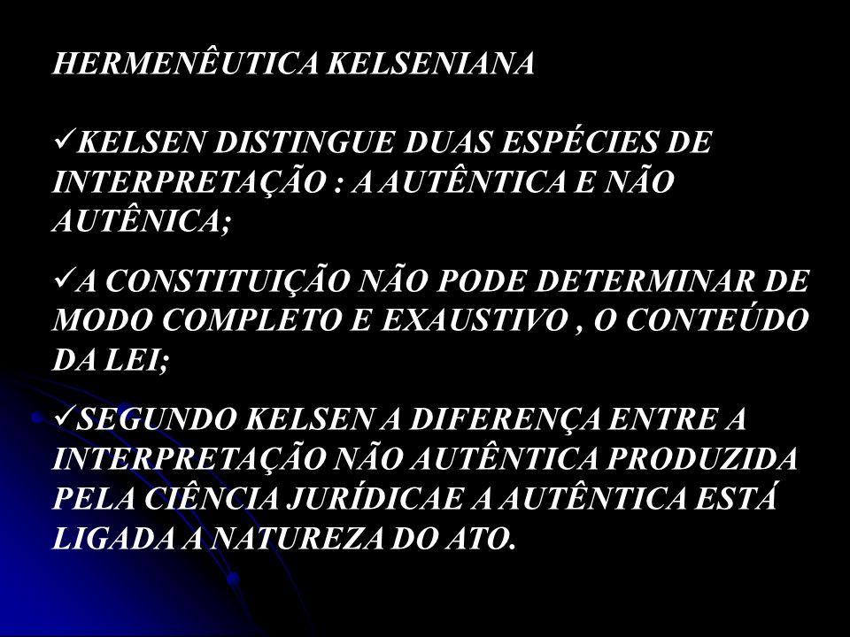 HERMENÊUTICA KELSENIANA KELSEN DISTINGUE DUAS ESPÉCIES DE INTERPRETAÇÃO : A AUTÊNTICA E NÃO AUTÊNICA; A CONSTITUIÇÃO NÃO PODE DETERMINAR DE MODO COMPL