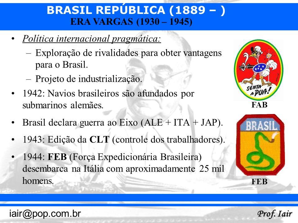 BRASIL REPÚBLICA (1889 – ) Prof. Iair iair@pop.com.br ERA VARGAS (1930 – 1945) Política internacional pragmática: –Exploração de rivalidades para obte