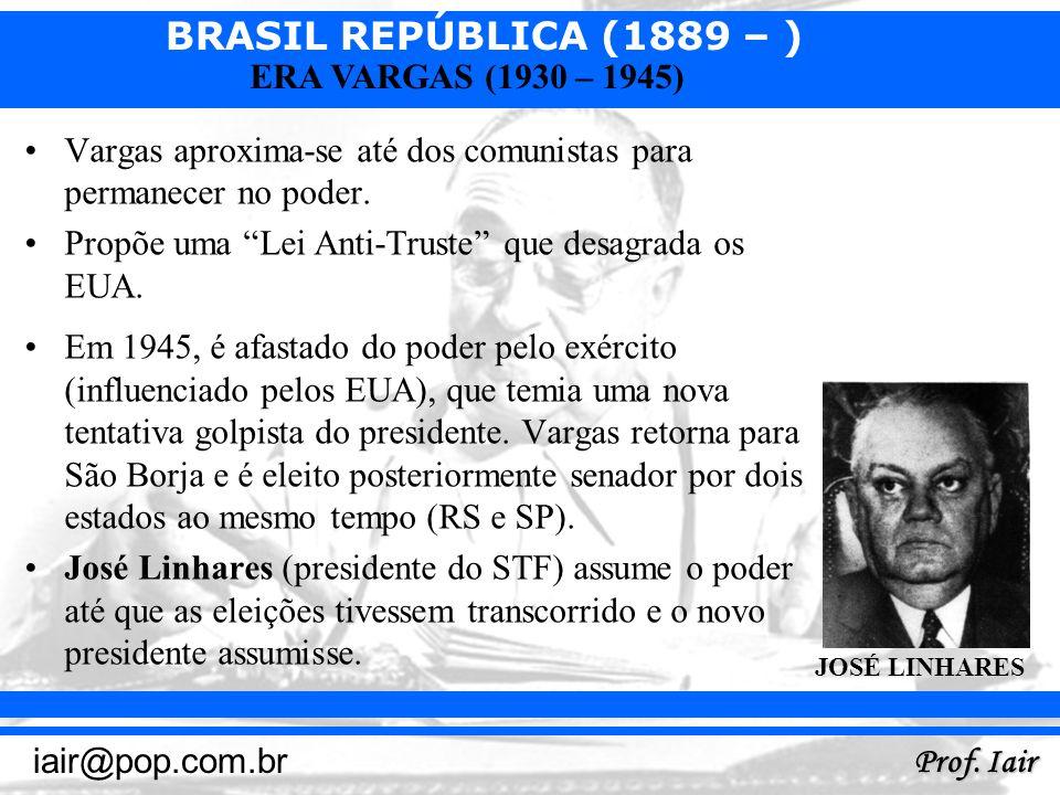 BRASIL REPÚBLICA (1889 – ) Prof. Iair iair@pop.com.br ERA VARGAS (1930 – 1945) Vargas aproxima-se até dos comunistas para permanecer no poder. Propõe