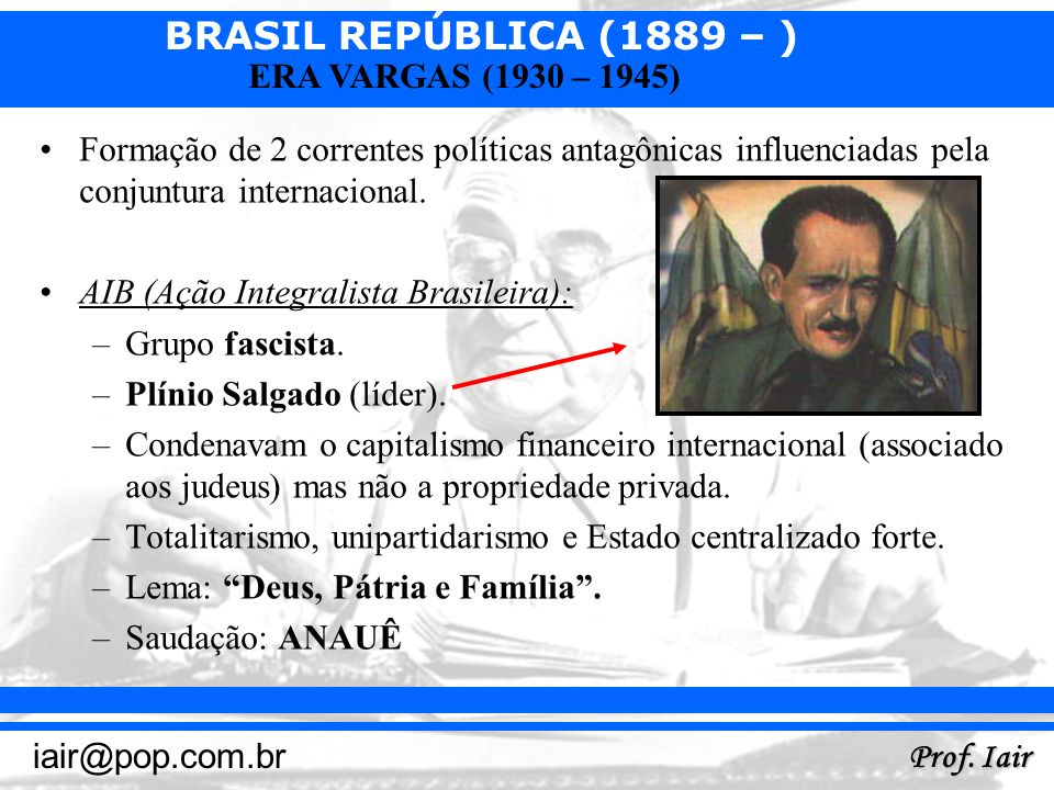 BRASIL REPÚBLICA (1889 – ) Prof. Iair iair@pop.com.br ERA VARGAS (1930 – 1945) Formação de 2 correntes políticas antagônicas influenciadas pela conjun
