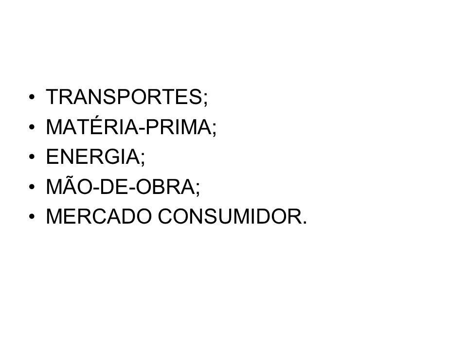 TRANSPORTES; MATÉRIA-PRIMA; ENERGIA; MÃO-DE-OBRA; MERCADO CONSUMIDOR.