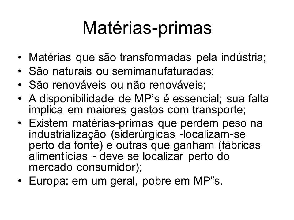 Matérias-primas Matérias que são transformadas pela indústria; São naturais ou semimanufaturadas; São renováveis ou não renováveis; A disponibilidade