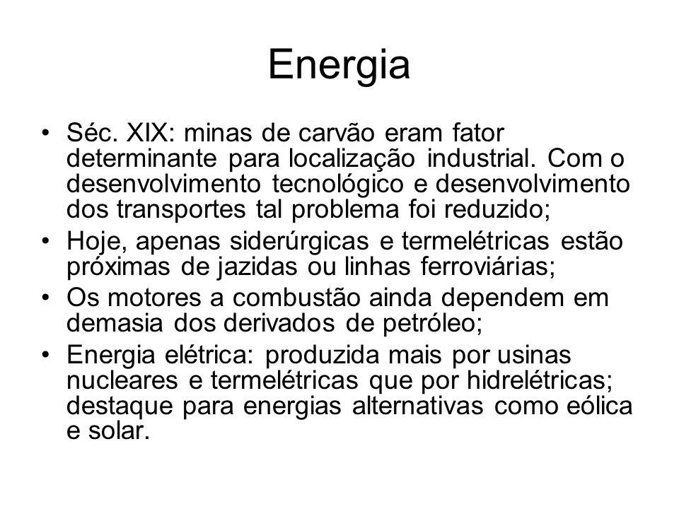 Energia Séc. XIX: minas de carvão eram fator determinante para localização industrial. Com o desenvolvimento tecnológico e desenvolvimento dos transpo
