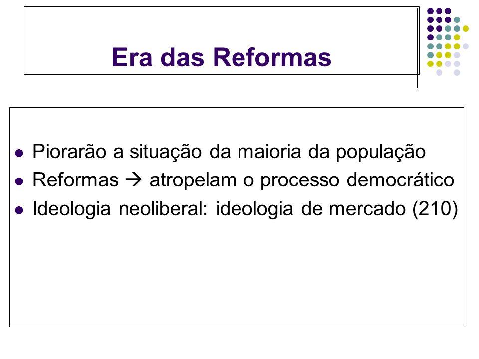 Era das Reformas Piorarão a situação da maioria da população Reformas atropelam o processo democrático Ideologia neoliberal: ideologia de mercado (210