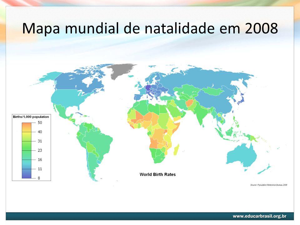 Mapa mundial de natalidade em 2008