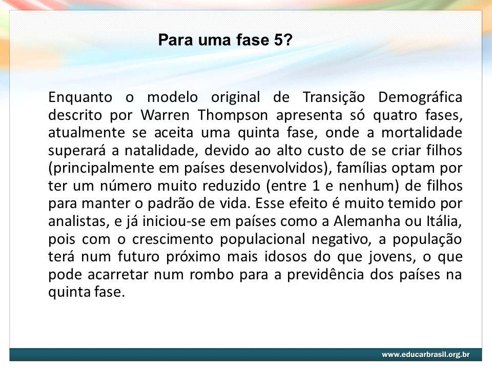 Enquanto o modelo original de Transição Demográfica descrito por Warren Thompson apresenta só quatro fases, atualmente se aceita uma quinta fase, onde