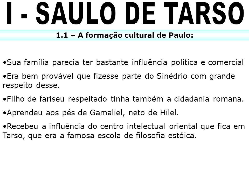 1.1 – A formação cultural de Paulo: Sua família parecia ter bastante influência política e comercial Era bem provável que fizesse parte do Sinédrio co