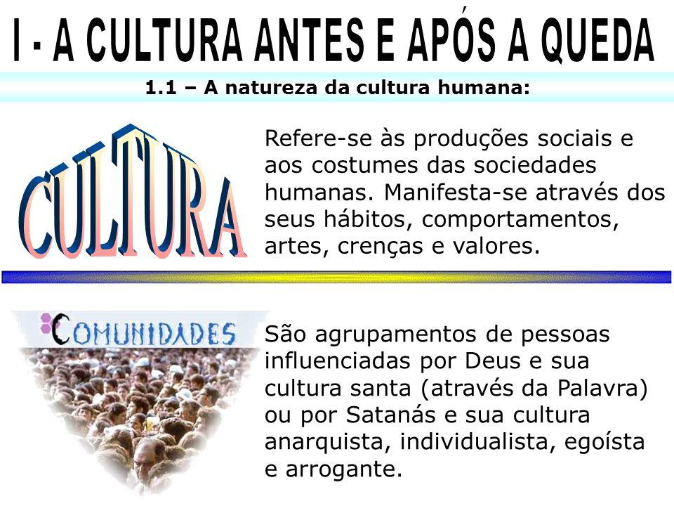 1.1 – A natureza da cultura humana: Refere-se às produções sociais e aos costumes das sociedades humanas. Manifesta-se através dos seus hábitos, compo
