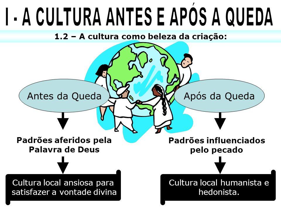 1.2 – A cultura como beleza da criação: Antes da QuedaApós da Queda Padrões aferidos pela Palavra de Deus Padrões influenciados pelo pecado Cultura lo