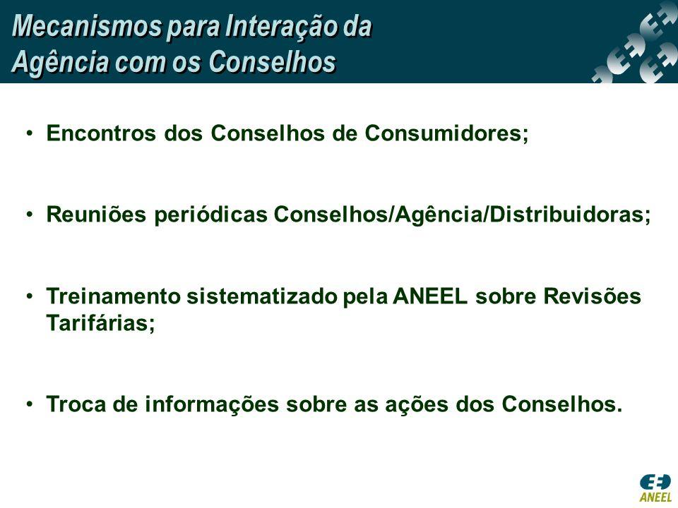 Encontros dos Conselhos de Consumidores; Reuniões periódicas Conselhos/Agência/Distribuidoras; Treinamento sistematizado pela ANEEL sobre Revisões Tar