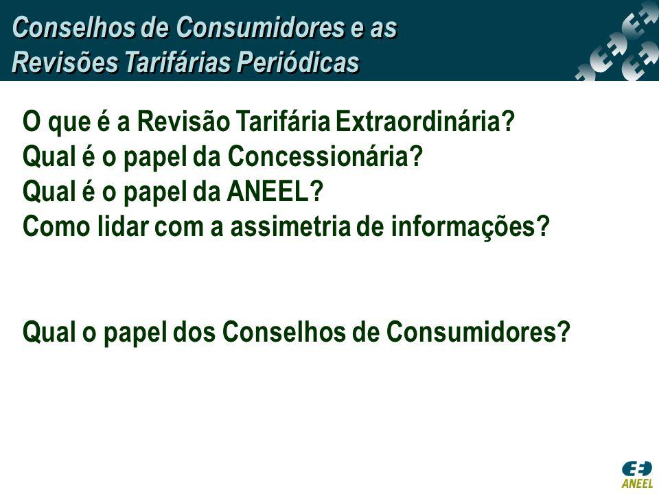 O que é a Revisão Tarifária Extraordinária? Qual é o papel da Concessionária? Qual é o papel da ANEEL? Como lidar com a assimetria de informações? Qua
