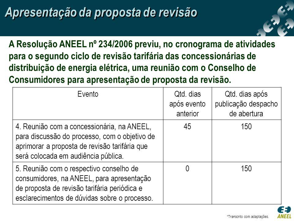 A Resolução ANEEL nº 234/2006 previu, no cronograma de atividades para o segundo ciclo de revisão tarifária das concessionárias de distribuição de ene