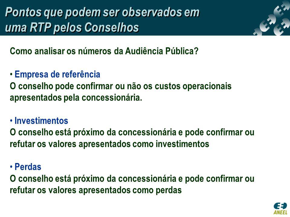 Como analisar os números da Audiência Pública? Empresa de referência O conselho pode confirmar ou não os custos operacionais apresentados pela concess