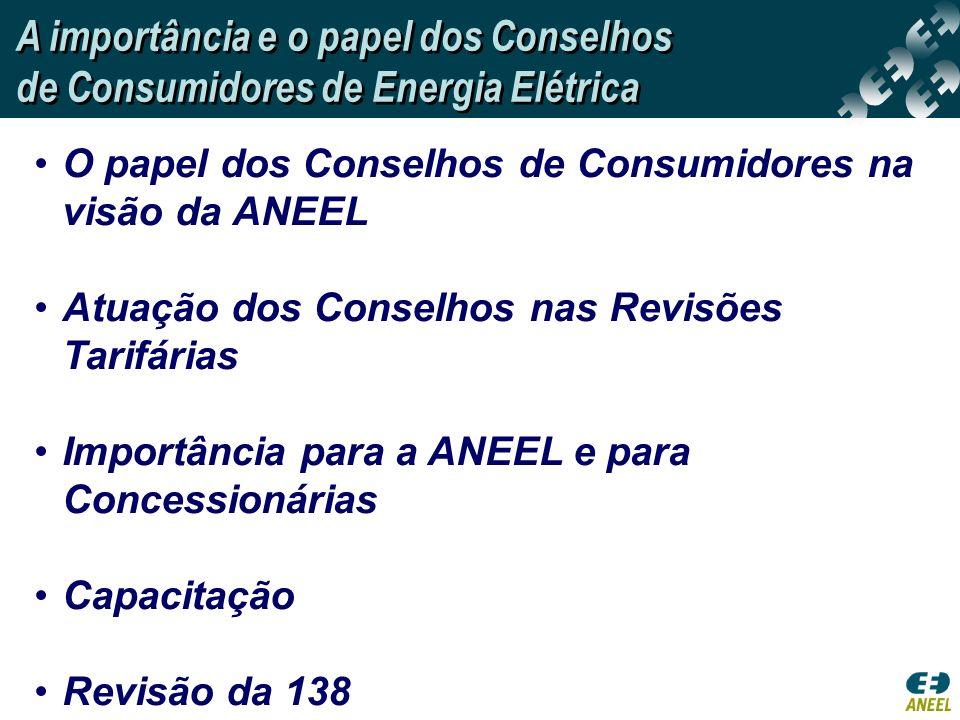 O papel dos Conselhos de Consumidores na visão da ANEEL Atuação dos Conselhos nas Revisões Tarifárias Importância para a ANEEL e para Concessionárias