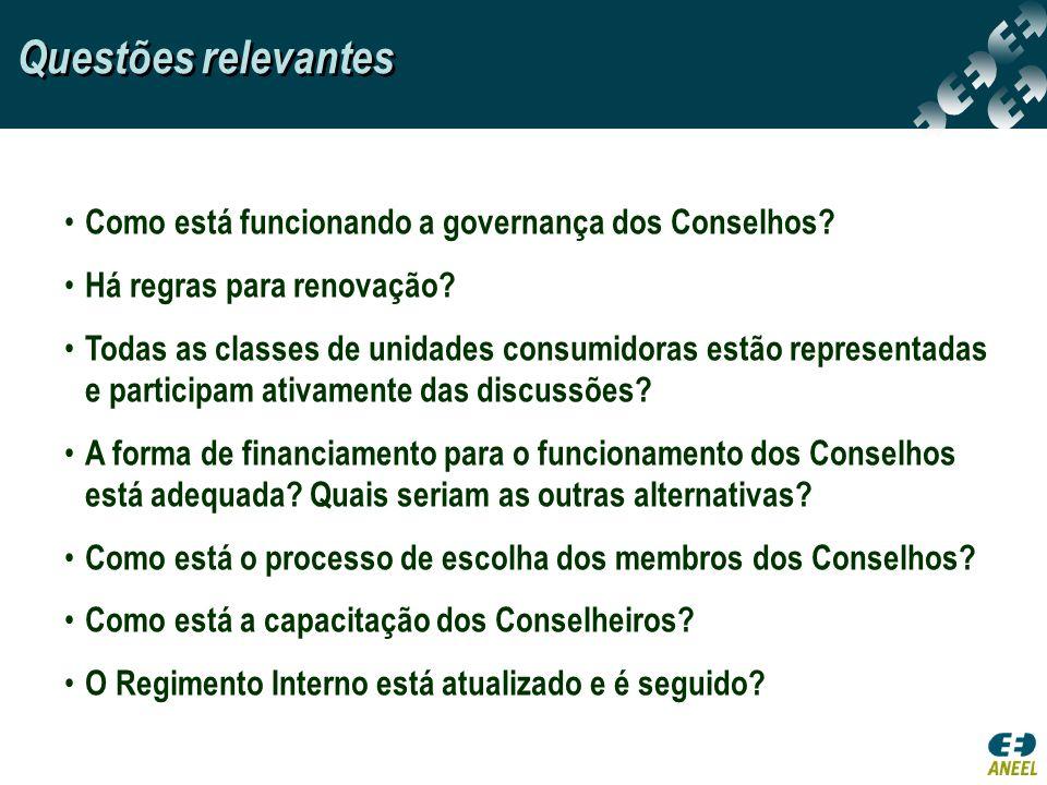 Como está funcionando a governança dos Conselhos? Há regras para renovação? Todas as classes de unidades consumidoras estão representadas e participam
