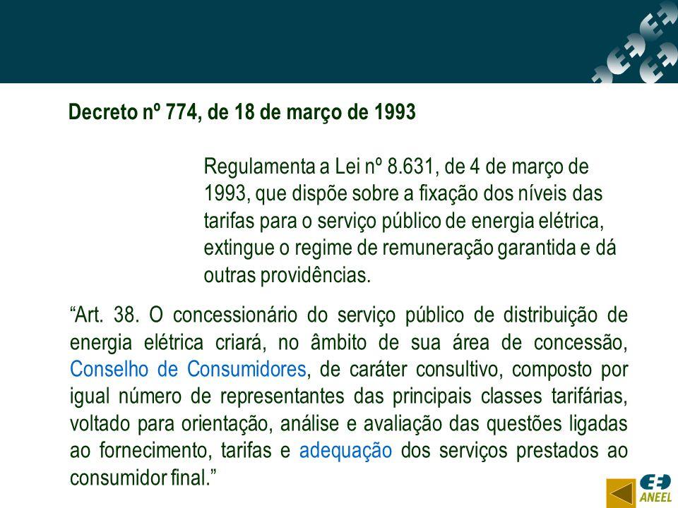 Art. 38. O concessionário do serviço público de distribuição de energia elétrica criará, no âmbito de sua área de concessão, Conselho de Consumidores,
