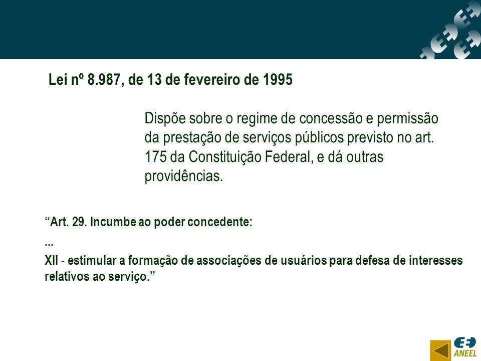 Art. 29. Incumbe ao poder concedente:... XII - estimular a formação de associações de usuários para defesa de interesses relativos ao serviço. Lei nº