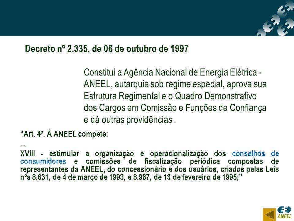 Art. 4º. À ANEEL compete:... XVIII - estimular a organização e operacionalização dos conselhos de consumidores e comissões de fiscalização periódica c