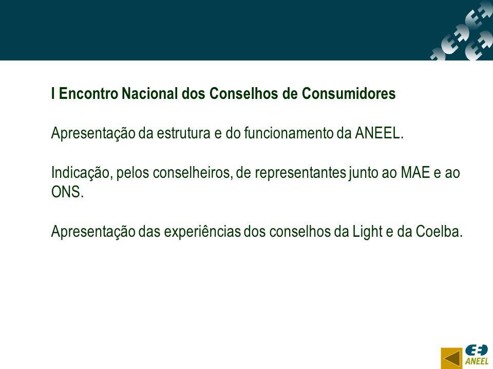 I Encontro Nacional dos Conselhos de Consumidores Apresentação da estrutura e do funcionamento da ANEEL. Indicação, pelos conselheiros, de representan