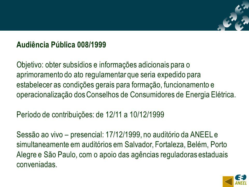 Audiência Pública 008/1999 Objetivo: obter subsídios e informações adicionais para o aprimoramento do ato regulamentar que seria expedido para estabel