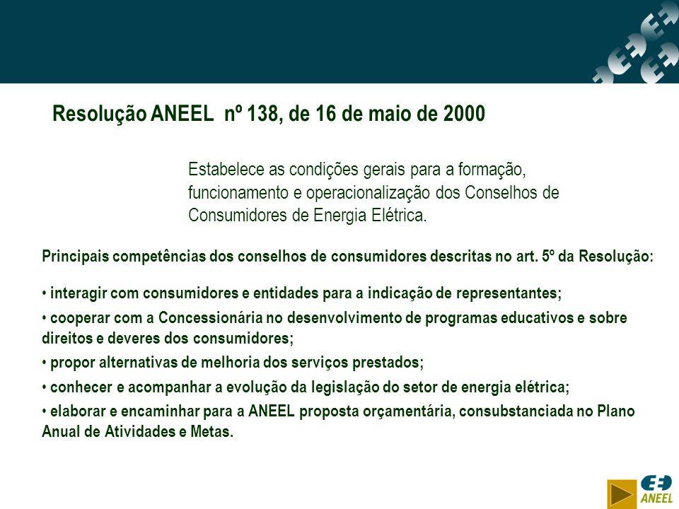 Resolução ANEEL nº 138, de 16 de maio de 2000 Estabelece as condições gerais para a formação, funcionamento e operacionalização dos Conselhos de Consu
