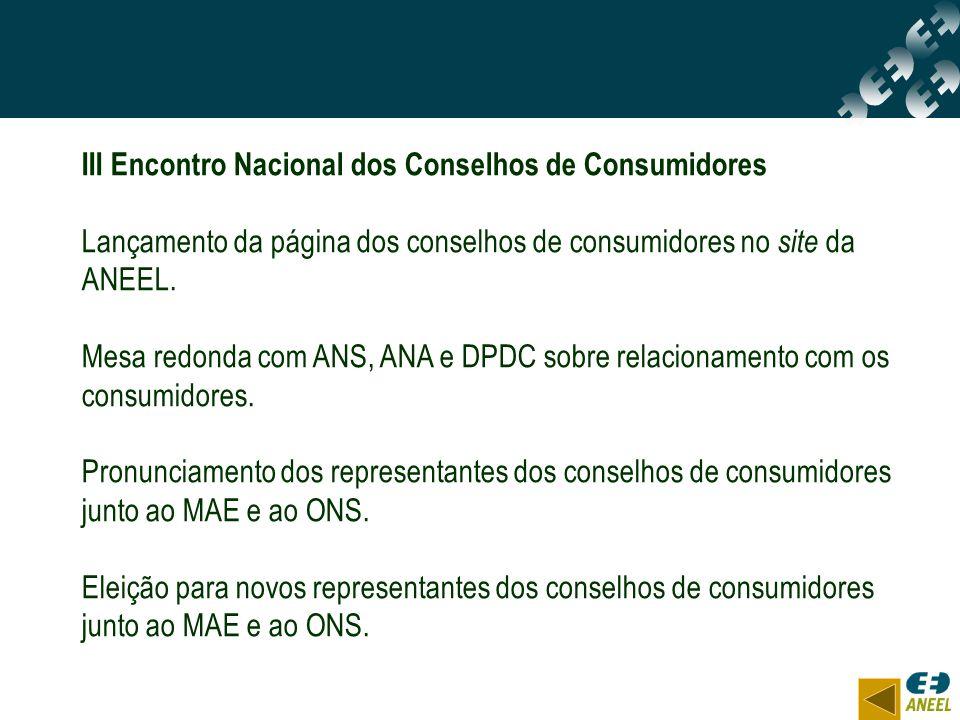 III Encontro Nacional dos Conselhos de Consumidores Lançamento da página dos conselhos de consumidores no site da ANEEL. Mesa redonda com ANS, ANA e D