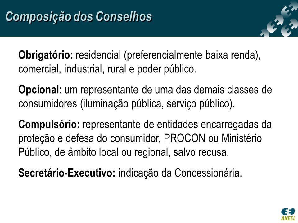 Composição dos Conselhos Obrigatório: residencial (preferencialmente baixa renda), comercial, industrial, rural e poder público. Opcional: um represen