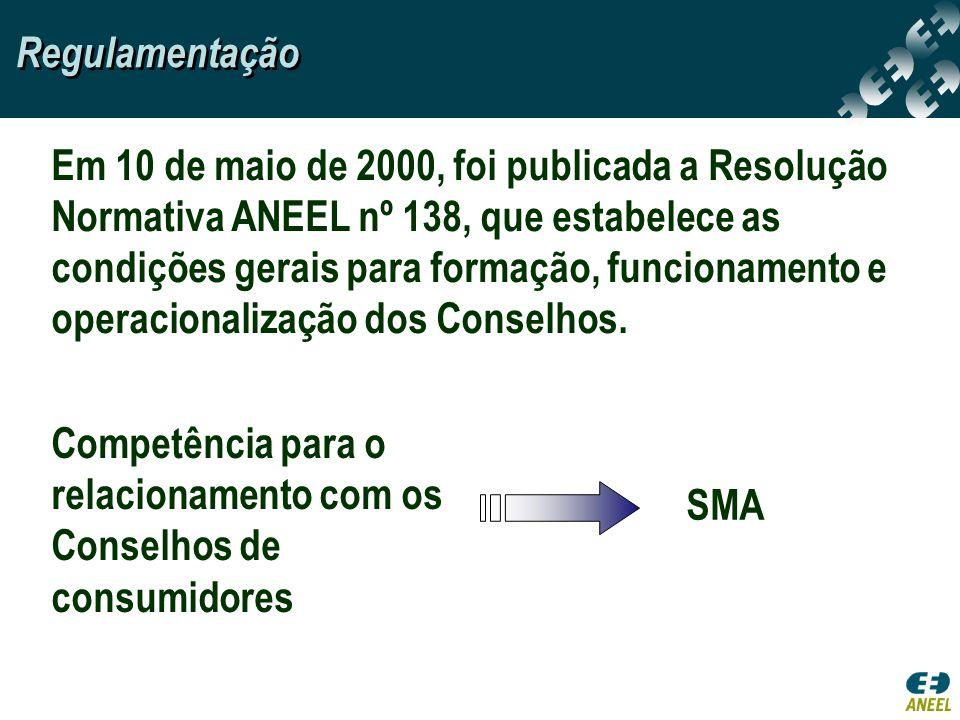 Em 10 de maio de 2000, foi publicada a Resolução Normativa ANEEL nº 138, que estabelece as condições gerais para formação, funcionamento e operacional