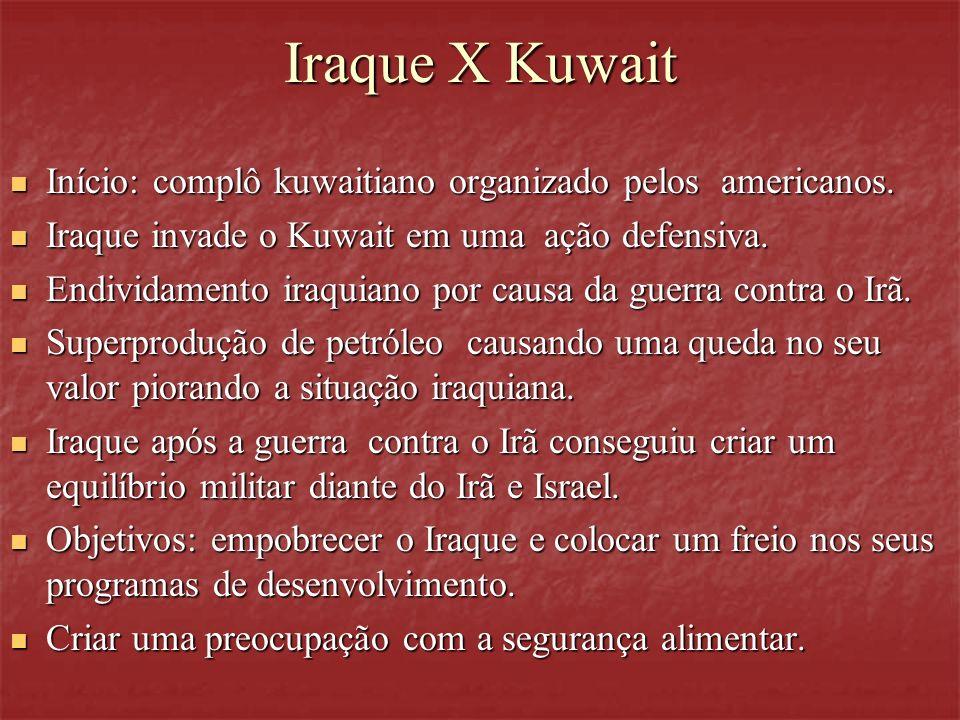 Iraque X Kuwait Início: complô kuwaitiano organizado pelos americanos. Início: complô kuwaitiano organizado pelos americanos. Iraque invade o Kuwait e