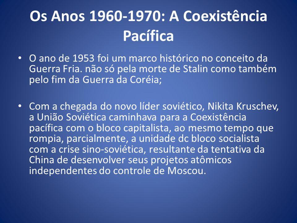 Os Anos 1960-1970: A Coexistência Pacífica O ano de 1953 foi um marco histórico no conceito da Guerra Fria. não só pela morte de Stalin como também pe