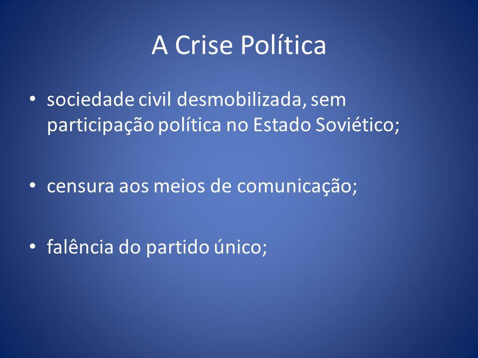 A Crise Política sociedade civil desmobilizada, sem participação política no Estado Soviético; censura aos meios de comunicação; falência do partido ú