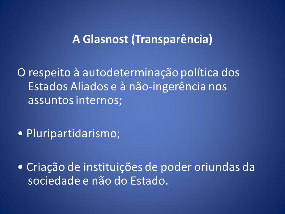A Glasnost (Transparência) O respeito à autodeterminação política dos Estados Aliados e à não-ingerência nos assuntos internos; Pluripartidarismo; Cri