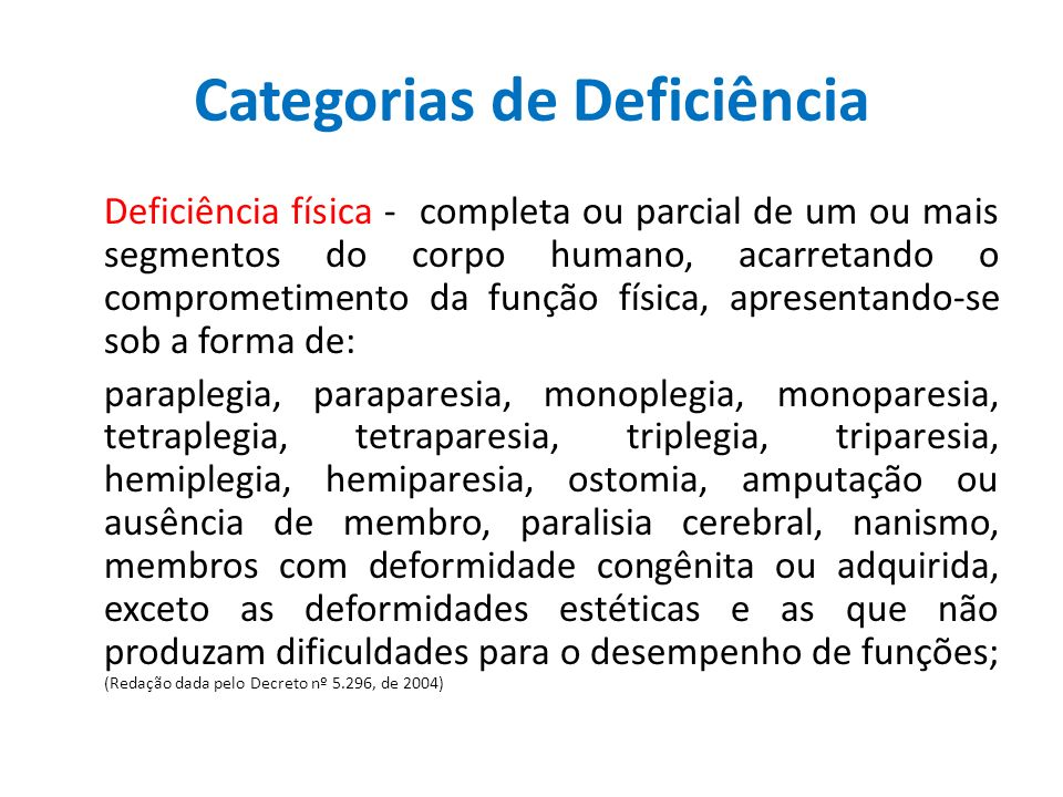 Deficiência auditiva - perda bilateral, parcial ou total, de quarenta e um decibéis (dB) ou mais, aferida por audiograma nas freqüências de 500HZ, 1.000HZ, 2.000Hz e 3.000Hz; (Redação dada pelo Decreto nº 5.296, de 2004) Deficiência visual o cegueira a acuidade visual é igual ou menor que 0,05 no melhor olho, com a melhor correção óptica; o baixa visão, que significa acuidade visual entre 0,3 e 0,05 no melhor olho, com a melhor correção óptica; o outros casos nos quais a somatória da medida do campo visual em ambos os olhos for igual ou menor que 60o; ou a ocorrência simultânea de quaisquer das condições anteriores; (Redação dada pelo Decreto nº 5.296, de 2004)