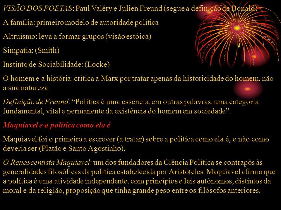 VISÃO DOS POETAS: Paul Valéry e Julien Freund (segue a definição de Bonald) A família: primeiro modelo de autoridade política Altruísmo: leva a formar