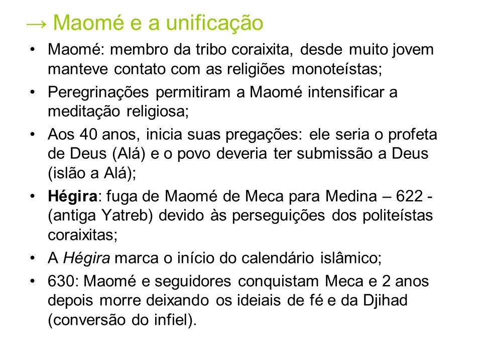 Maomé e a unificação Maomé: membro da tribo coraixita, desde muito jovem manteve contato com as religiões monoteístas; Peregrinações permitiram a Maom