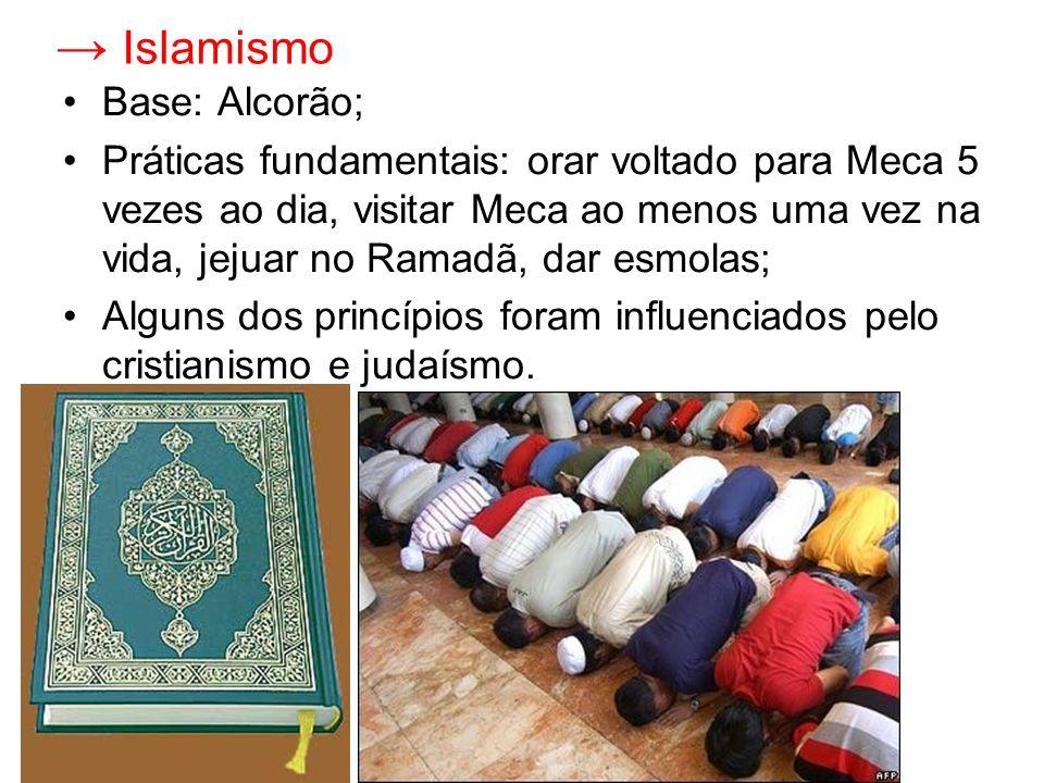 Islamismo Base: Alcorão; Práticas fundamentais: orar voltado para Meca 5 vezes ao dia, visitar Meca ao menos uma vez na vida, jejuar no Ramadã, dar es