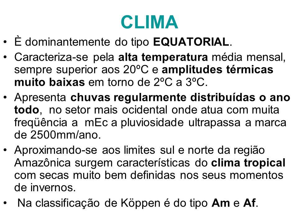 CLIMA È dominantemente do tipo EQUATORIAL. Caracteriza-se pela alta temperatura média mensal, sempre superior aos 20ºC e amplitudes térmicas muito bai