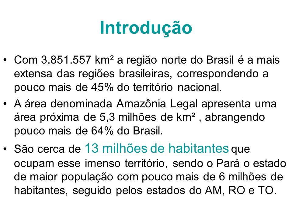 Introdução Com 3.851.557 km² a região norte do Brasil é a mais extensa das regiões brasileiras, correspondendo a pouco mais de 45% do território nacio