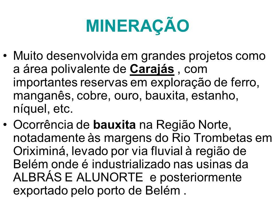 MINERAÇÃO Muito desenvolvida em grandes projetos como a área polivalente de Carajás, com importantes reservas em exploração de ferro, manganês, cobre,