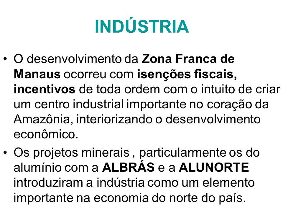 INDÚSTRIA O desenvolvimento da Zona Franca de Manaus ocorreu com isenções fiscais, incentivos de toda ordem com o intuito de criar um centro industria